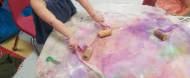Painting with paper rolls, water colors & big coffee filters in Room 3- Ms. Jenniffer's Class