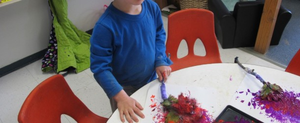 Painting with Petals in Room 9