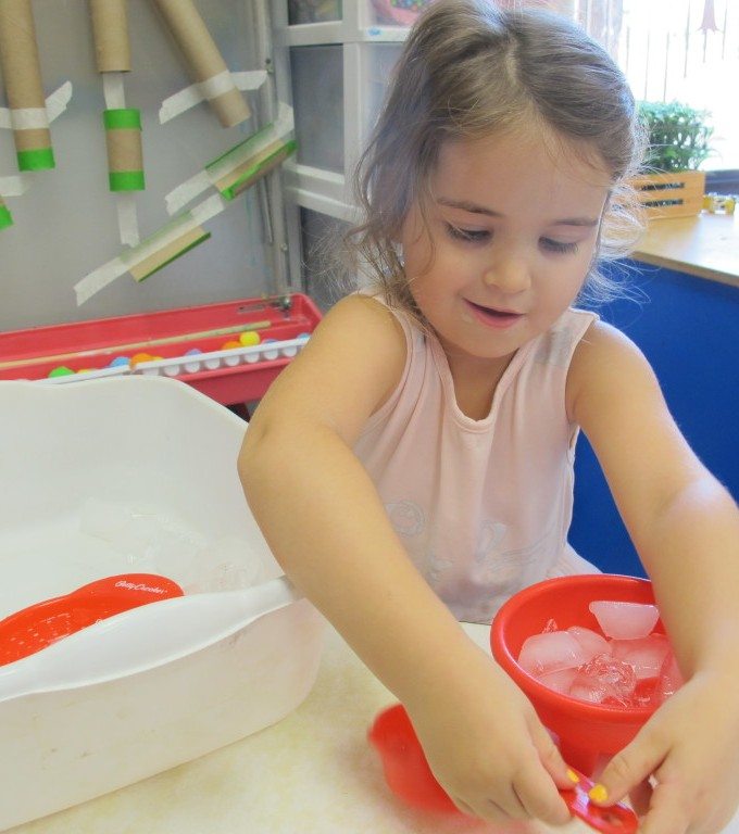 Playing with Ice in Room 5