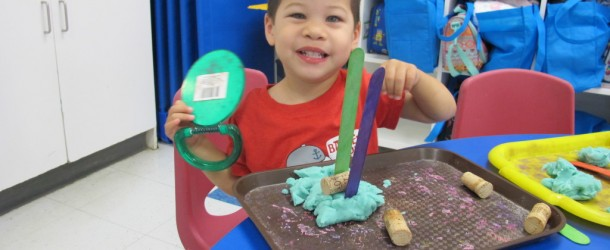 Playing with Playdough in Room 4